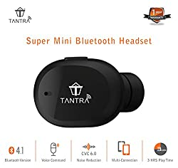 TANTRA AirBud Mini Bluetooth Headset Invisible Wireless Headphone with Mic 4.1 Bluetooth Earphones with Snug Fit with Voice Command and Dual Phones Pairing (Black)