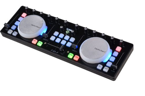 iCON i-DJ mini USB MIDI-/DJ-Controller mit Touch-Sensitive Scratch Wheels schwarz