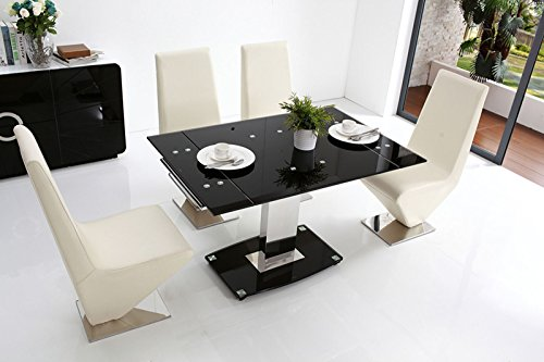 ENZO EXTENDING GLASS TABLE AND Z ZED DINING CHAIRS AVAILABLE IN ...