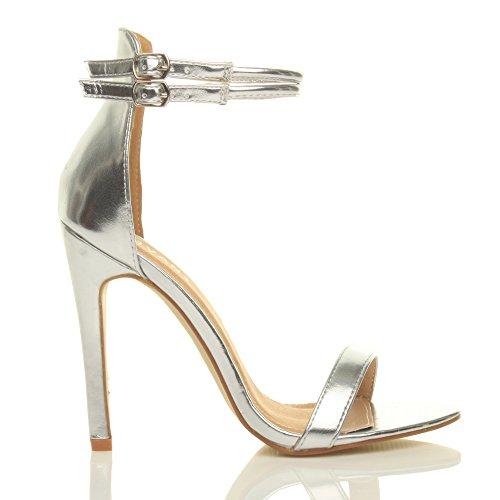 Damen Hohen Absatz Kaum Dort Fesselriemen Schnalle Stilettos High Heels Sandalen Schuhe Größe Silbermetallic