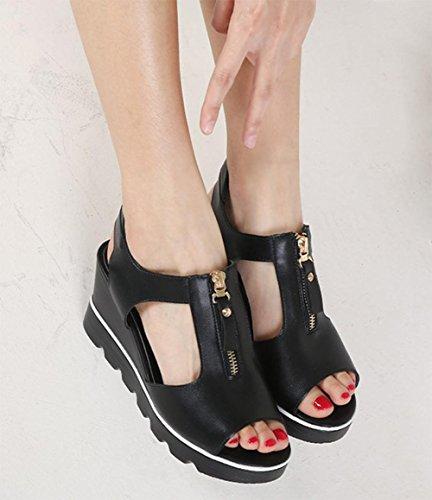 Printemps et en été des sandales à talons hauts sandales à muffins en croûte épaisse tête de poisson femme femmes sandales imperméables Black