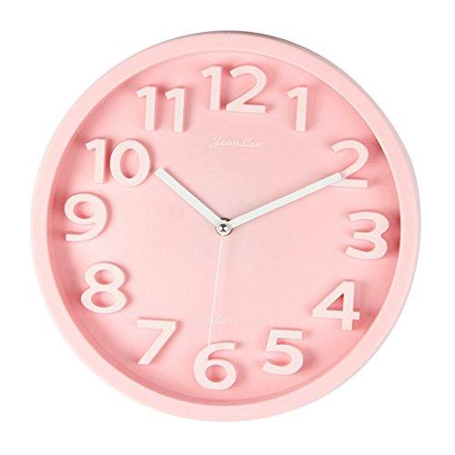non-brand Sharplace 30cm Einfache Quarz Wanduhr Quarzuhr Uhr für Wohnzimmer Schlafzimmer - Rosa