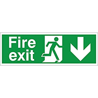 Pack of 5 x Fire Exit Arrow Down Signs 300mm x 100mm - Self Adhesive (FE.06E-SA-PACKOF5)