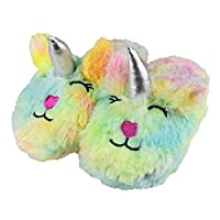 Tirzro Girls/Kids Cute Unicorn Slippers with Warm Plush Fleece House Slip-on Shoes Multi Size: M US Big Kid