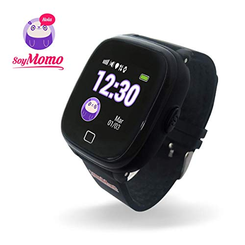 SoyMomo H2O Telefono pequeño y Seguro para niños con GPS. (Negro)