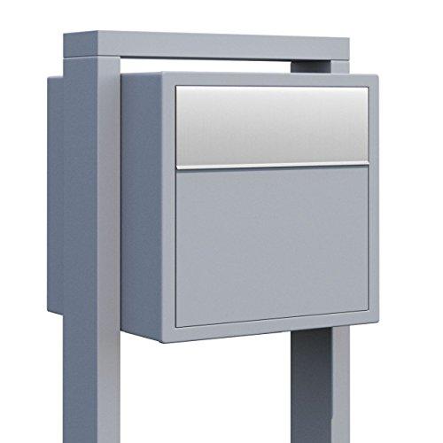 Standbriefkasten, Design Briefkasten Soprano Grau Metallic/Edelstahl - Bravios