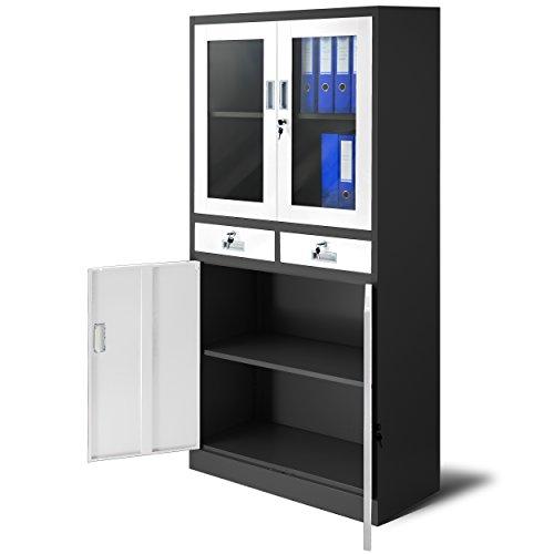 Aktenschrank C017 mit 2 Schubladen Medizinschrank Büroschrank 2 Abteile Pulverbeschichtung Stahlblech 185 cm x 90 cm x 40 cm (anthrazit/weiß)