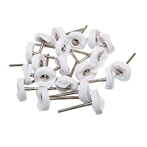 NIUPIKA Little Buffer Wheels Polier- und Polierscheibe für Dremel Drehbohrer, Weiß, 3 mm Dorn, 20 Stück