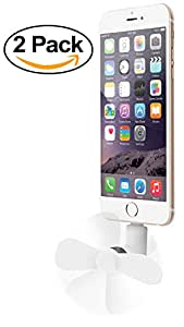 Aduro 2x Pack Cooling, Portable, Fashion Smartphone & Tablet Powered Fan Works w/ All 8- Pin Lightning iPhone 6S Plus, 5S, SE, iPad Devices (8-Pin Lightning, White)