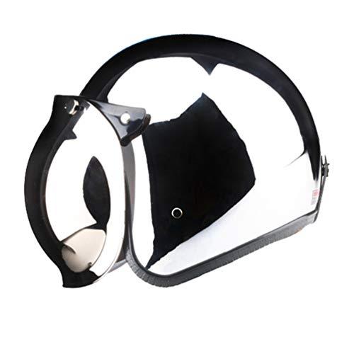 XIGUAK retrò Aperto Faccia Caschi Adulto Motocross Staccabile Unisex Ciclo di Sicurezza Tappo Jet Argento Cromo Moto Casco 55-64cm