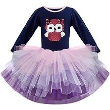 BaZhaHei Vestito da Principessa Bambina Abito Tutu Elegante Carnevale Manica  Lunga Casuale Abito da Sera Moda b9daa07b62f