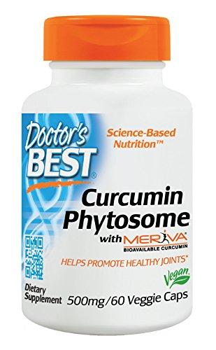 Doctor's Best, Curcumin Phytosome mit Meriva, 500 mg, 60 Kapseln, Vegan, hochdosiert, ohne Gentechnik, Glutenfrei, Kurkuma