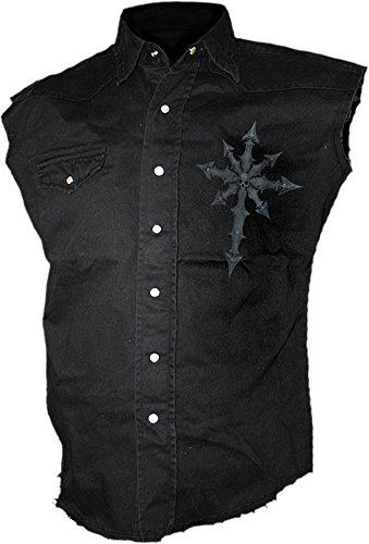 Spiral-Pantaloni oscurità-Senza maniche Slavato lavoratore Nero Black M