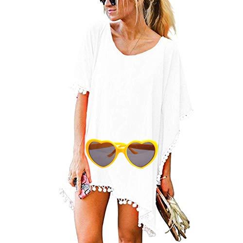 LYworld Damen Strandponcho Sommer Strandkleid Badeanzug Bikini Cover-Ups Sommer Bikini Badeanzug Strand Bikini Badeanzug Cover Up Pompon Quasten Frauen (Weiß) - Mädchen Pom Shorts Pom