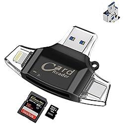 Lecteur Carte USB TF Card Reader - Sonoka Lecteur de Carte Mémoire 4 en 1 Lightning/USB 2.0 Standard/Type C/Micro USB Adaptateur Carte Mémoire pour iPhone/PC/Macbook/Android OTG/Notebook/TV