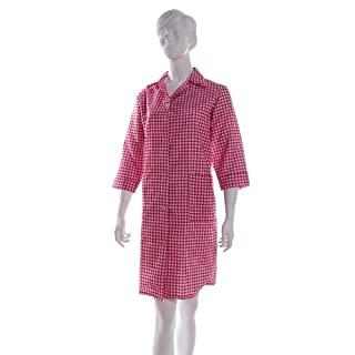 Ladies Gingham Check Work Overalls with ¾ Length Sleeves Red XOS