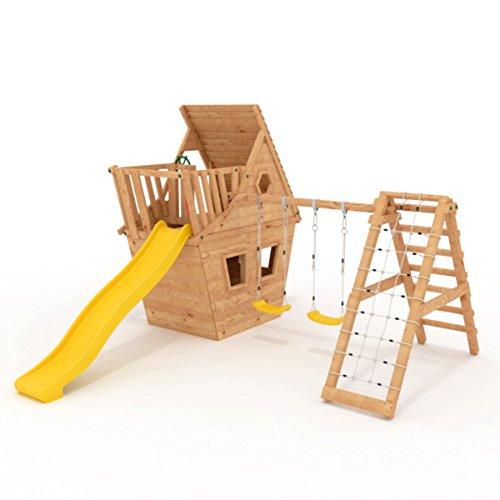 BIBEX® Spielturm - Wunderhäuschen-M150 + Lange Rutsche, 2xSchaukel, Knotennetz, Klettersteine, Möbel Rote Rutsche/Schaukel (Gelb)
