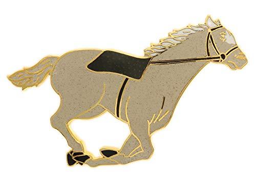 Behave Damen Pferd Brosche - Tierbroschen mit Pferd aus Emaille - grau - 6cm Größe (Pferd Steht Pin)