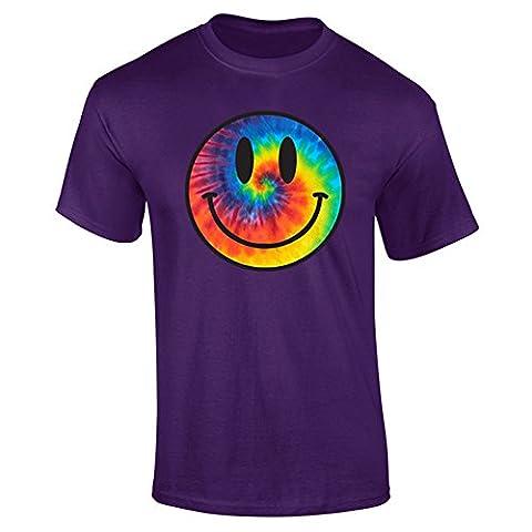 Mens Tie Dye Smiley Face Acid Rave T-shirt Purple (XXL)