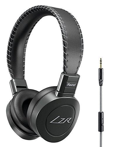 Magnat LZR 560, High Performance On-Ear-Kopfhörer, Perfekte Passform, Kabel-Fernbedienung mit Freisprecheinrichtung - schwarz/silber