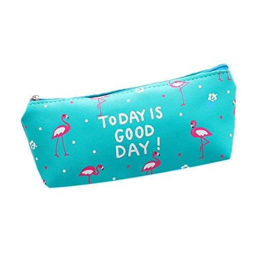 Fablcrew pencil-case Motiv Flamingo/penguin-pattern Make-up Tasche Bleistift Fall Ticket-Tasche für die Schule Schreibwaren 20 x 10 cm grün