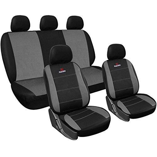 WOLTU AS7316 Set Completo di Coprisedili Auto Seat Cover Universali Protezione per Sedile di Poliestere Classici Nero-Grigio