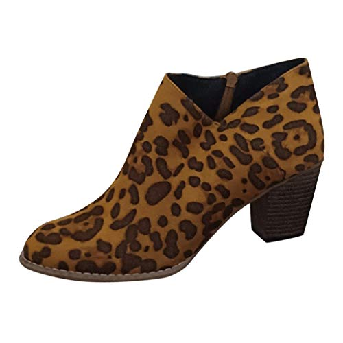Kurze Stiefel Damen Leopard Drucken Stiefeletten Großformat Slip-on Single Boots Retro Freizeitschuhe Wildleder Herbst Winter Booties mit Mittlere Ferse ABsoar -