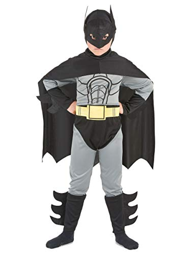 Für Batman Jungen Kostüm - KULTFAKTOR GmbH Fledermaus-Held Kinderkostüm Superhelden-Anzug grau-schwarz-gelb 110/122 (4-6 Jahre)