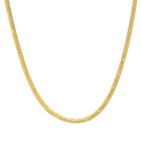 Small 14k Yellow Gold Plated 2mm Diamond-Cut Rounded Snake Link Chain, 50.5 cm + Jewelry Polishing Cloth