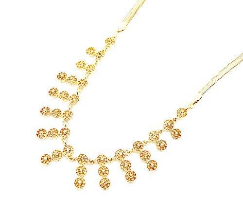 CC589-Halskette Multi-Band Ringe Anhänger mit Strasssteinen Farbe: gold-Modeschmuck
