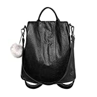 YoungSoul Women Backpack Handbag Waterproof PU Leather School Rucksack Anti-Theft Shoulder Bag Black