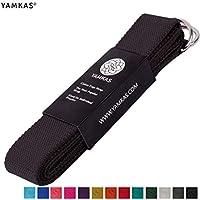 Yamkas Correa para Yoga Yoga Belt cinturón 100% de algodón con Esquinas de Metal Anillo Cierre en Diferentes Coloures Yoga Strap (Black, 180)