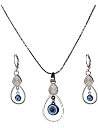 IGP Evil Eye Stainless Steel Fashion Pendant Set With Clip On Earrings For Women And Girls