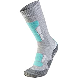 XAED - Calcetines de esquí ergonómicos para mujer (35/37, gris claro/menta)