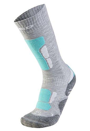 Xaed - calzini da sci ergonomici, da donna, 35/37, colore grigio chiaro / menta