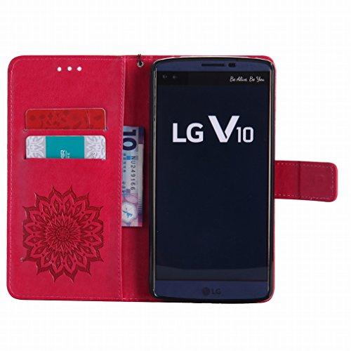 LEMORRY LG V10 Custodia Pelle Cuoio Flip Portafoglio Borsa Sottile Bumper Protettivo Magnetico Morbido Silicone TPU Cover Custodia per LG V10, Fiorire Rosso Rosso
