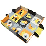 TETAKE TETAKE Baby Spielmatte, Schadstofffrei Schaumstoff Baby Puzzlematte mit Zaun, Krabbelmatte, Babymatte, Bodenmatte, Wasserdicht, Ungiftig und BPA Frei, 9Stück 30x30x1cm