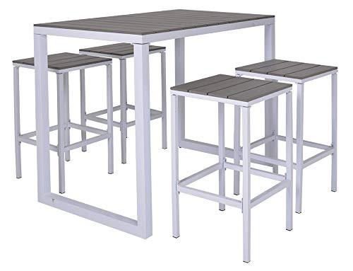 Enrico Coveri Set Tavolo Bar Grande Rettangolare con 4 Sgabelli Acciaio Grigio e Bianco Perfetto per Arredo Esterno Cucina Terrazzo e Giardino