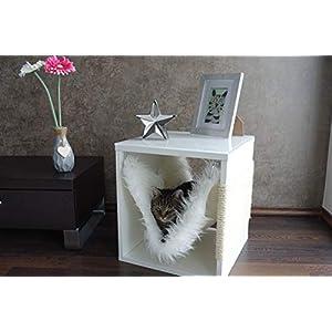 Kratz die Katz Design – Kratzbaum/Kratzwürfel/Katzenmöbel/Beistelltisch/in Weiß (Matt) mit Milchglasplatte