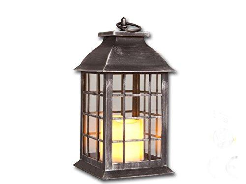 Laterne mit LED Kerze flackernd Deko Kerzen Ständer Halter Leuchter Grablicht (Holz-laterne-kerze-halter)
