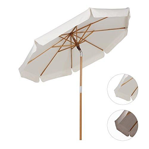 sekey sombrilla parasol de madera para terraza jardn playa piscina patio cm crudo crema uac uaccomprar ahorahoy est rebajado uac
