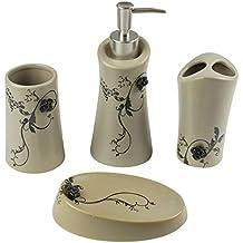 Mosa La Fleur – Juego de accesorios de baño, 4 piezas, cerámica, estilo retro vintage, dispensador de jabón, vaso para cepillos de dientes, jabonera, ...