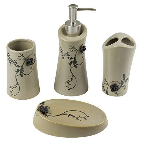 Mosa la fleur - set di accessori da bagno, 4 pezzi, in ceramica, stile retrò vintage, dispenser di sapone liquido, portasapone, portaspazzolino, in bianco o marrone marrone
