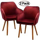 Ambiendi 2er Set Esszimmerstuhl SAMT Mit Armlehne Rot Elegante Soft Sitz und Rücken Wohnzimmer Küchenstühle für Frauen
