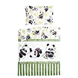 Bambou panda - Pati'Chou 100% Coton Linge de lit pour bébé (Taie d'oreiller et Housse de couette 100x140 cm)