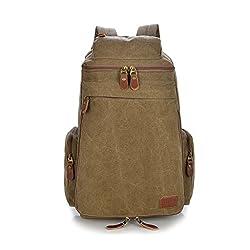 Lifebe Bg Unisex Travel Vintage Canvas Messenger Backpack Sport Rucksack Camping School Satchel Hiking Military Laptop Bag(khaki)
