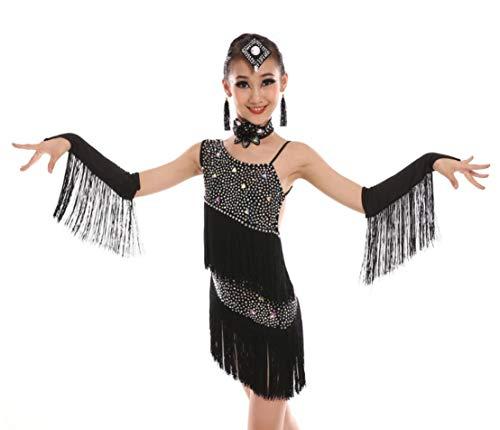 YZLL Latin Dance Kleid FüR Kinder, Kinder Kinder Pailletten Fringe BüHnenkostüM TanzkostüM Wettbewerb Weiß Lila GrüN Schwarz,Black,140CM