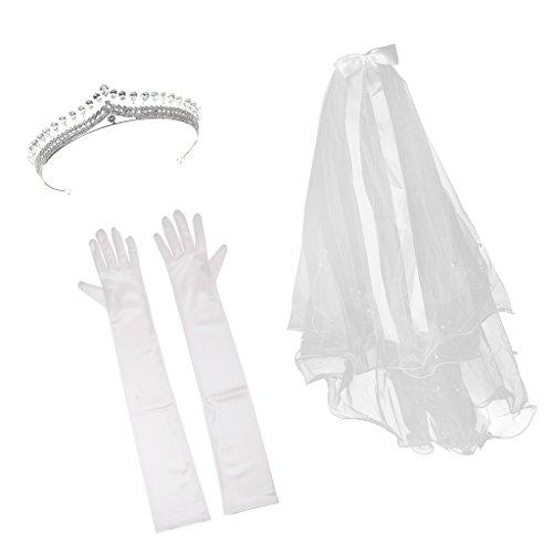 D DOLITY Lange Handschuhe Ellenbogen Handschuhe mit Brautschleier und Hochzeit Tiara (Rouge Schleier)