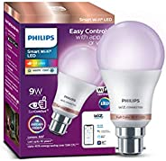 Philips Smart Wi-Fi LED bulb B22 9-Watt WiZ Connected (16 Million Colors + Warm White/Neutral White/White + Di