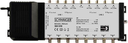 Schwaiger SEW4098531 9/8 DiSEqC Satelliten-Multischalter silber